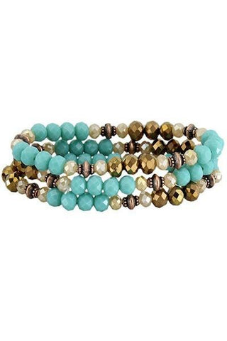 Turquoise and Bronze Layered Crystal Bracelet Set - Nico Bella Boutique