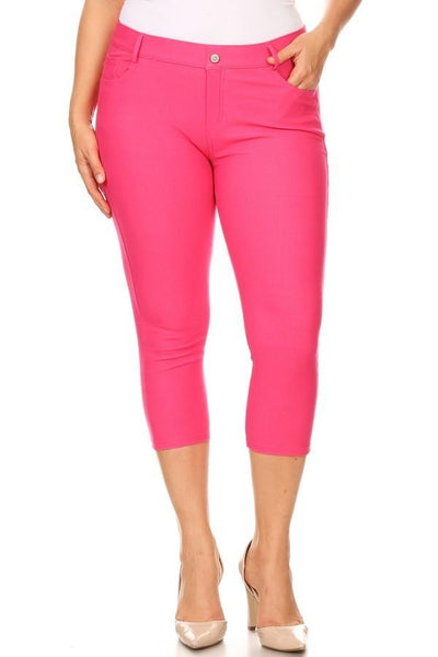 Fuchsia Denim Capri Jeggings - Nico Bella Boutique