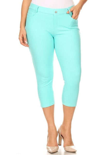 Turquoise Denim Capri Jeggings - Nico Bella Boutique