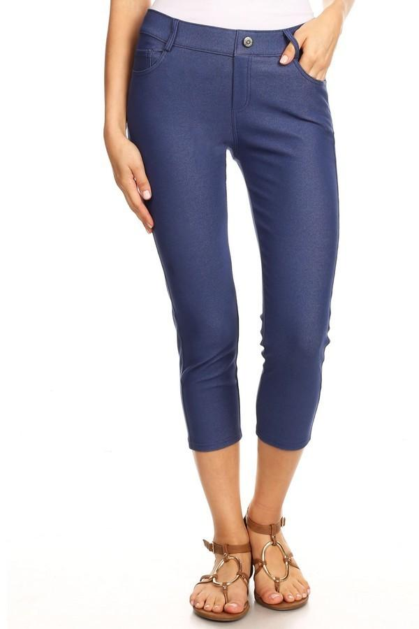 Denim Blue Capri Jeggings - Nico Bella Boutique