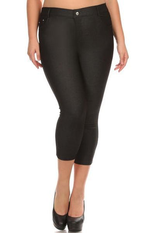 Black Denim Capri Jeggings - Nico Bella Boutique