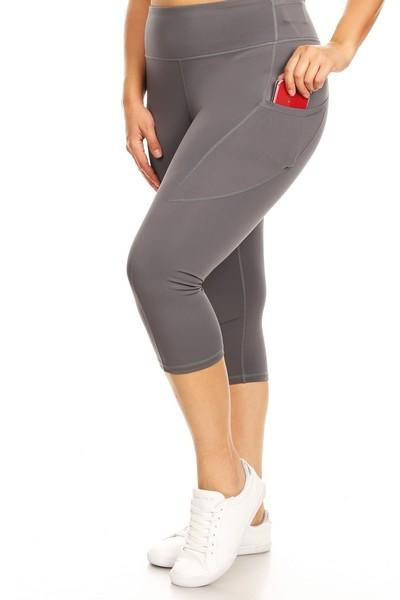 Grey Capri Workout Pocket Pants - Nico Bella Boutique