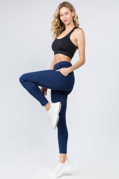 Navy Workout Pocket Pants - Nico Bella Boutique