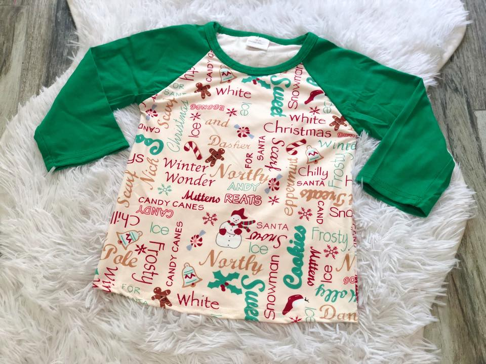 Christmas Saying Raglan - Nico Bella Boutique