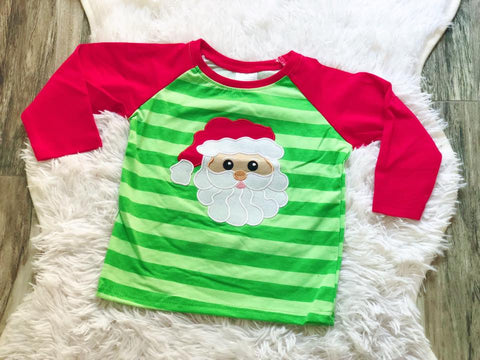 Green Striped Applique Santa Raglan - Nico Bella Boutique