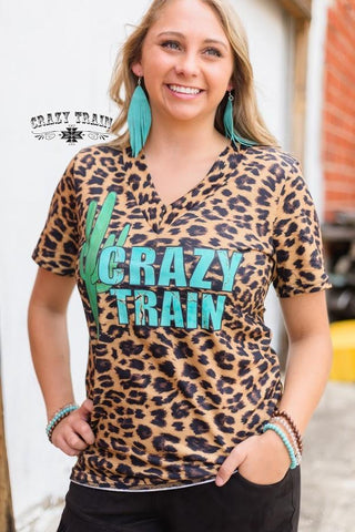 Leopard Crazy Train Cactus V-neck Top - Nico Bella Boutique
