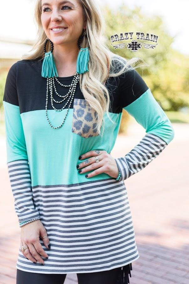 Coffee Date Leopard Turquoise Stripe Long Sleeve Top - Nico Bella Boutique