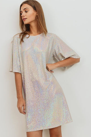 Dusty Pink Sequin Bell Sleeve Dress - Nico Bella Boutique