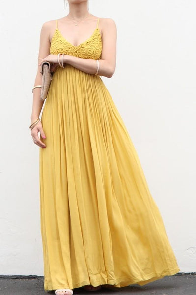 Mustard Lace Front Crochet Accent Open Back Maxi Dress - Nico Bella Boutique