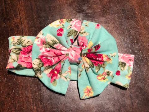 Floral Aqua Messy Bow Headband - Nico Bella Boutique