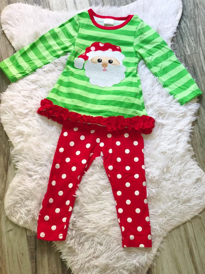 Green Striped Applique Santa Set - Nico Bella Boutique