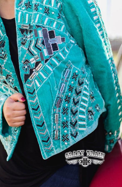The Jennings Turquoise Jacket - Nico Bella Boutique