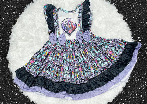 Nightmare Before Christmas Jack and Sally Twirl Dress - Nico Bella Boutique