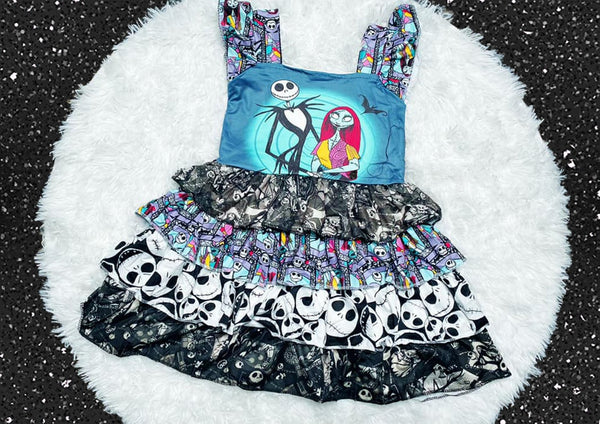 Nightmare Before Christmas Tier Ruffle Dress - Nico Bella Boutique