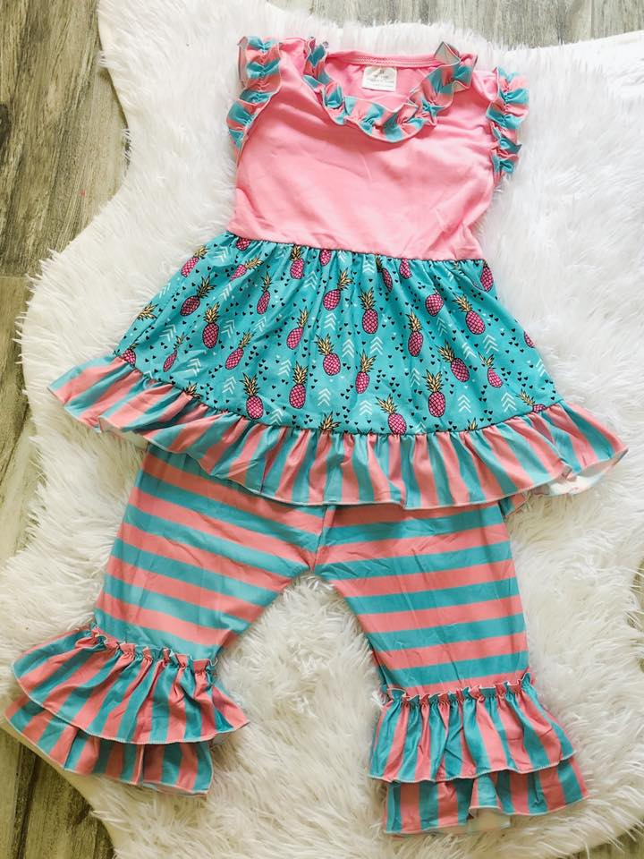 Pineapple Capri Set - Nico Bella Boutique