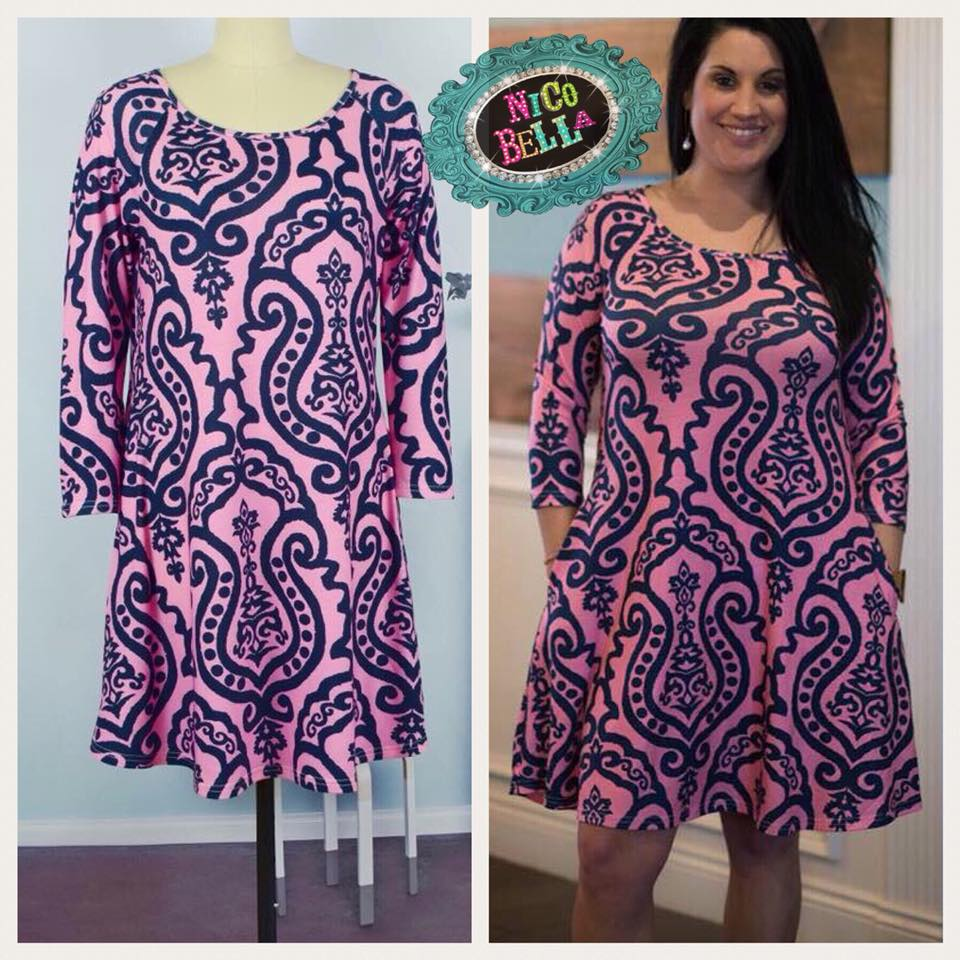 Pink Navy Damask Dress - Nico Bella Boutique