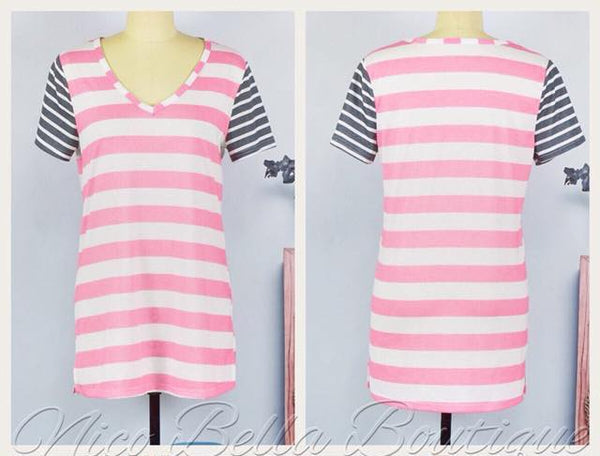 Pink and White Striped V-neck Tee - Nico Bella Boutique