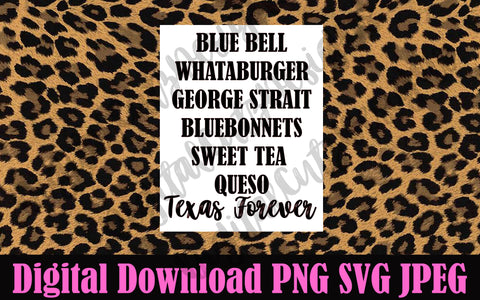 Bluebell Whataburger George Strait Bluebonnets Sweet Tea Queso Texas Forever SVG PNG JPEG