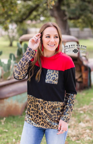 Brunch Date Leopard Red Sequin Long Sleeve Top