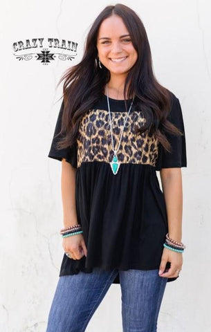 Whitney Wild Top Black and Leopard - Nico Bella Boutique