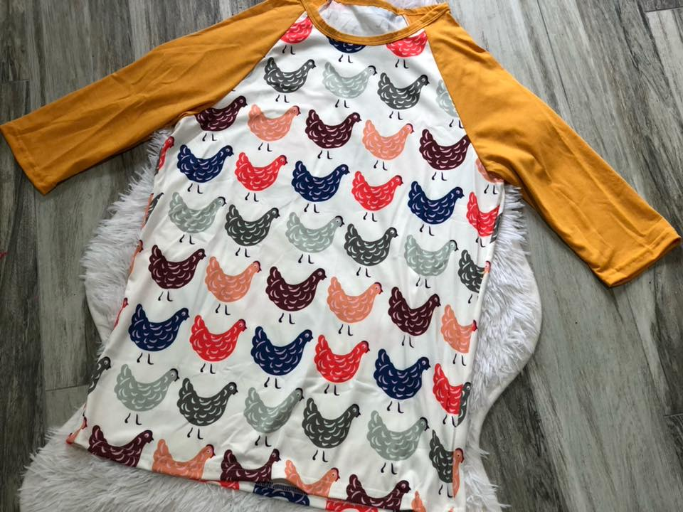 Chicken Raglan - Nico Bella Boutique