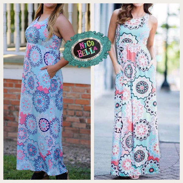 Aqua Kaleidoscope Maxi Dress - Nico Bella Boutique