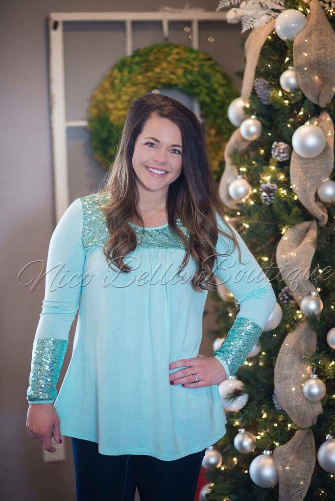 Mint Sequin Tunic - Nico Bella Boutique