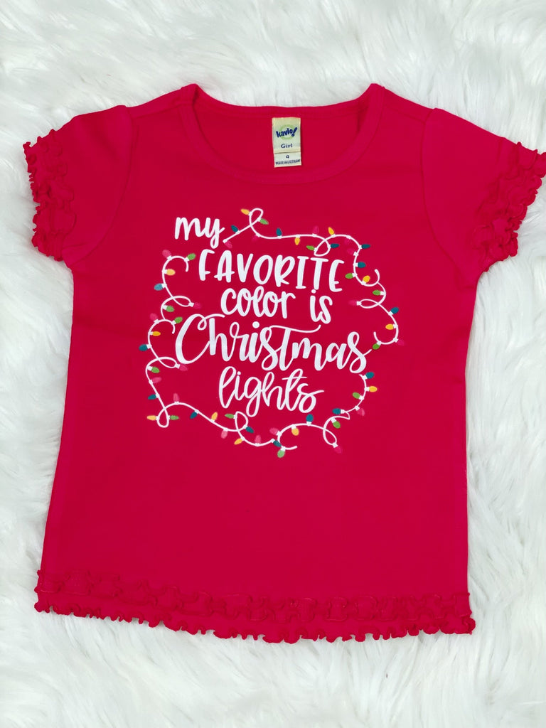 My Favorite Color is Christmas Lights Red Lettuce Ruffle Shirt - Nico Bella Boutique