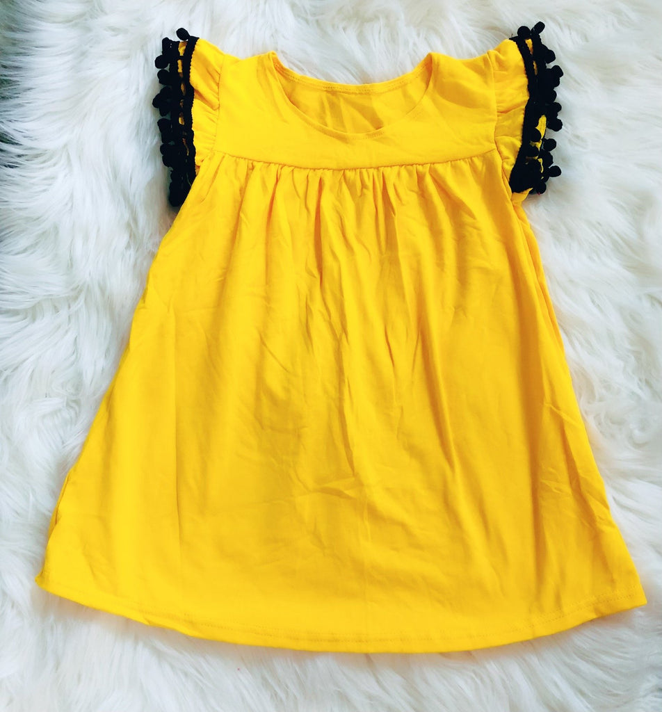 Yellow Black Pom Pom Pearl Tunic - Nico Bella Boutique