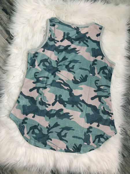 Camo Color Block Tank - Nico Bella Boutique