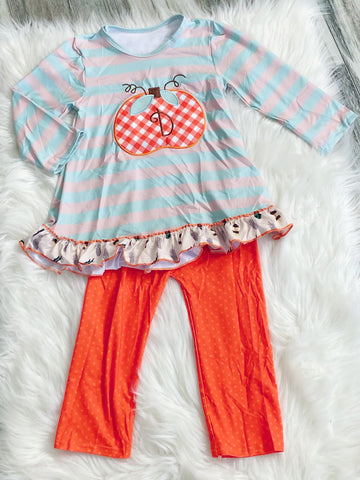 Pumpkin D Monogram Grey Aqua Stripe Set - Nico Bella Boutique