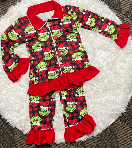 Girls Grinch Buffalo Plaid Pajama Set