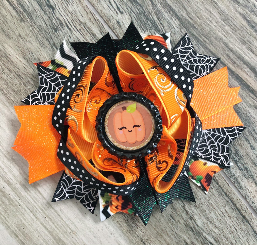 Pumpkin Hair Bow - Nico Bella Boutique