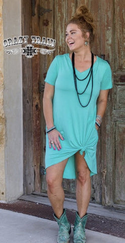 Turquoise Druzzy Pocket Dress - Nico Bella Boutique
