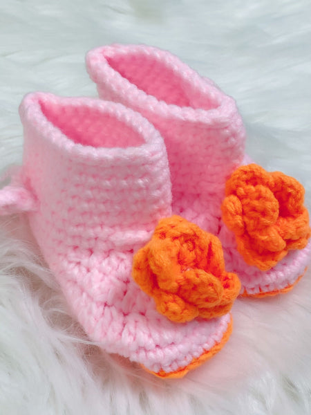 Pink and Orange Floral Crochet Baby Booties - Nico Bella Boutique