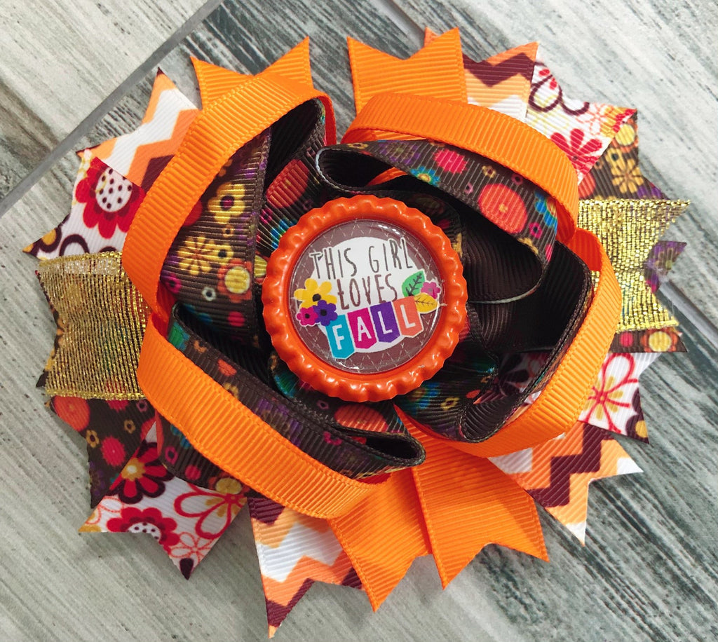 This Girl Loves Fall Hair Bow - Nico Bella Boutique