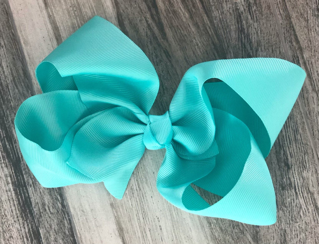 Aqua Girls Hair Bow - Nico Bella Boutique