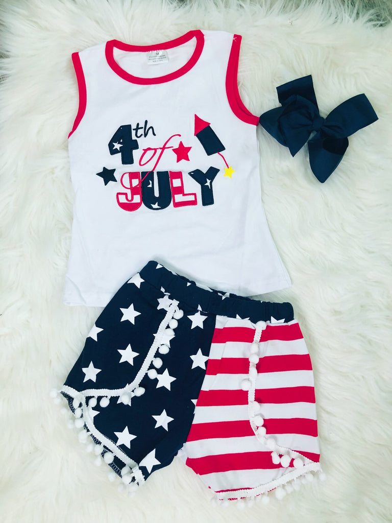 4th of July Applique Short Set - Nico Bella Boutique