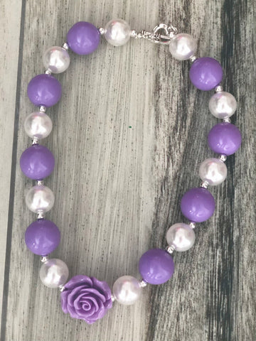 Lavender & Pearl Bubblegum Necklace - Nico Bella Boutique