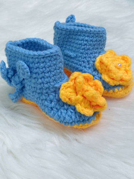 Blue and Yellow Floral Crochet Baby Booties - Nico Bella Boutique