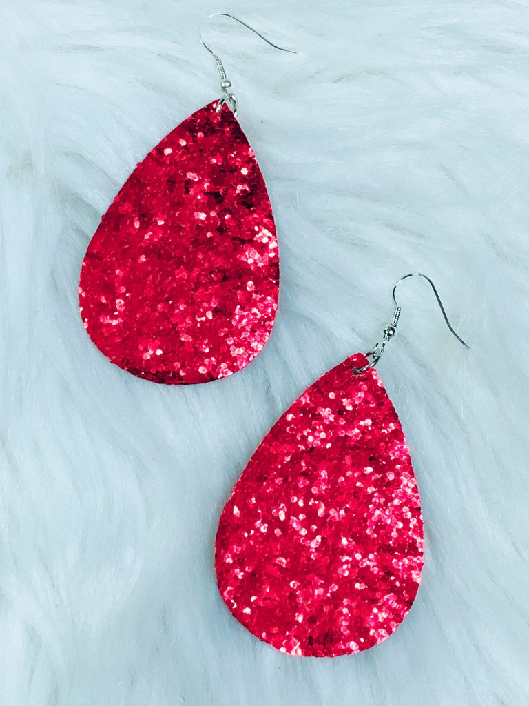 Red Glitter Teardrop Earrings - Nico Bella Boutique