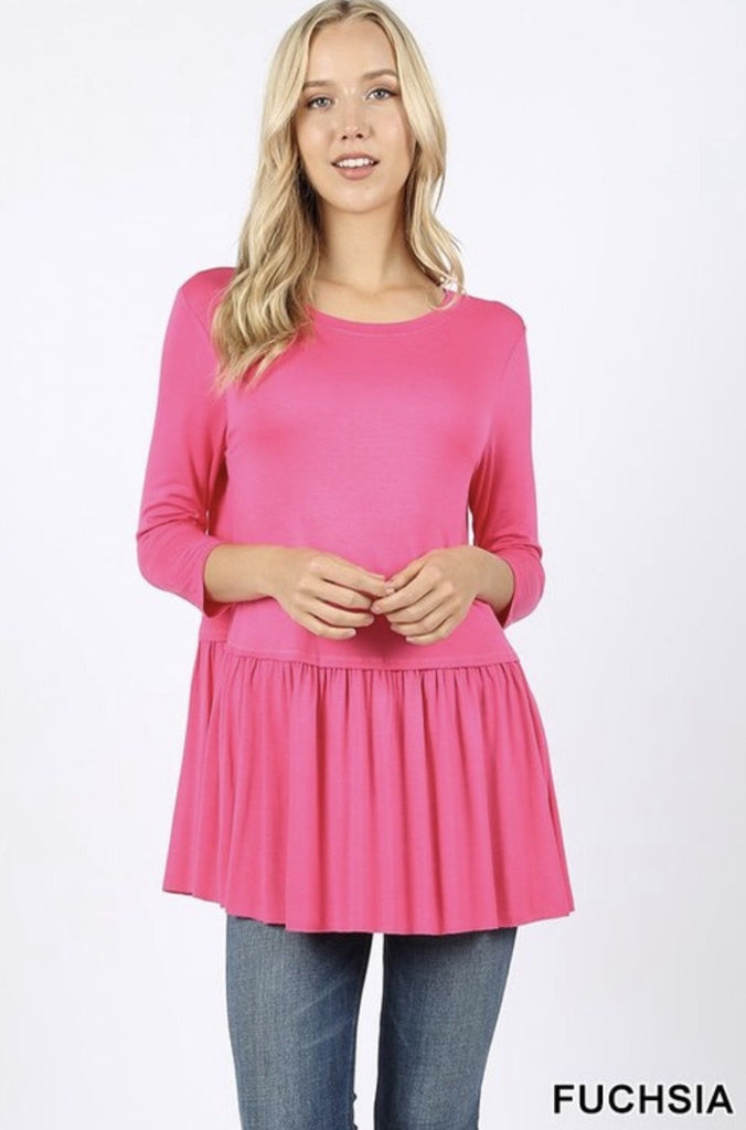 Women's Fuchsia Rayon Ruffle Bottom 3/4 Sleeve - Nico Bella Boutique