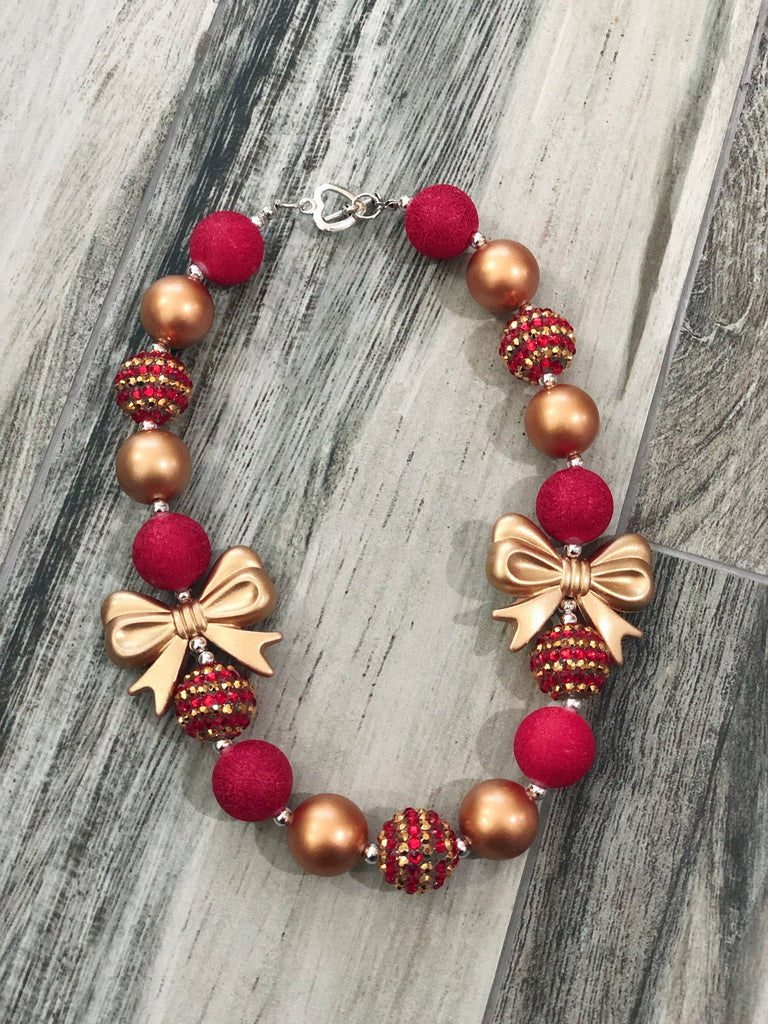 Red & Gold Bubblegum Necklace - Nico Bella Boutique