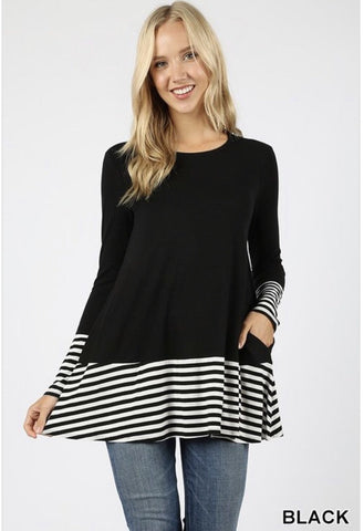 Women's Black Striped Top - Nico Bella Boutique
