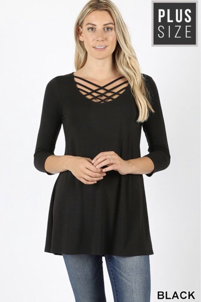 Black Triple Lattice Plus Size Top - Nico Bella Boutique