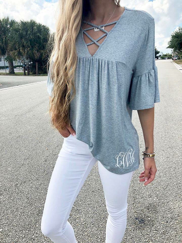 Grey Criss Cross Bell Sleeve Tunic - Nico Bella Boutique