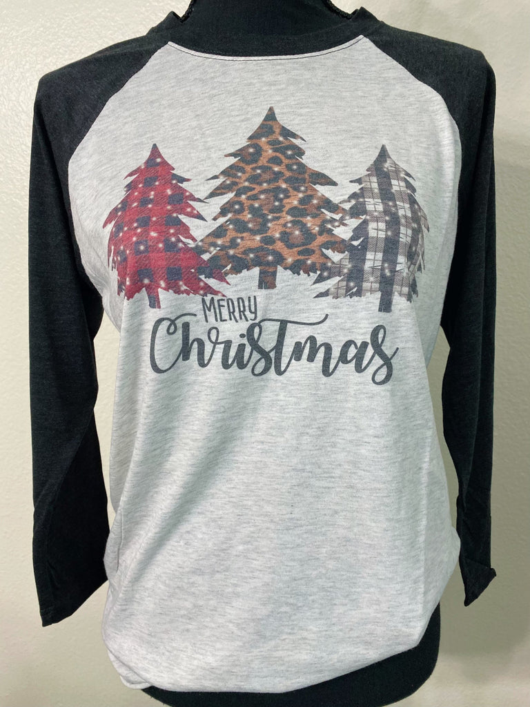 Merry Christmas Buffalo Plaid Leopard Trees Raglan - Nico Bella Boutique