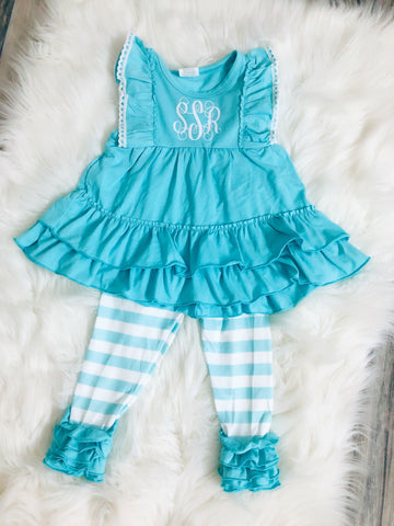 Aqua Stripe Monogram Set - Nico Bella Boutique