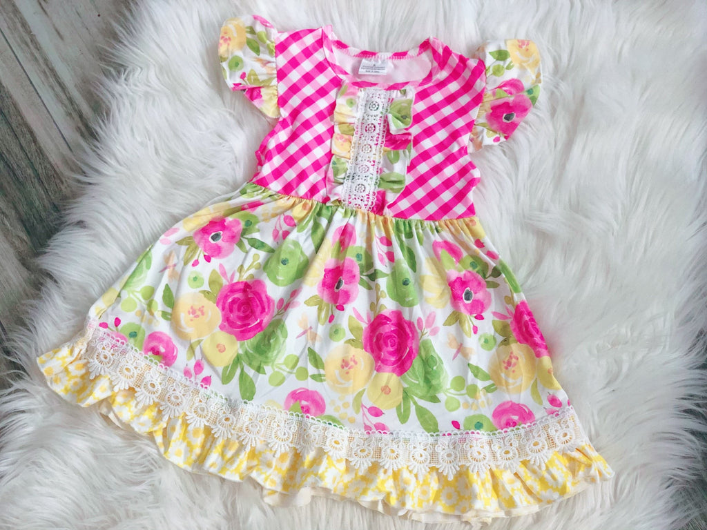 Pink & Yellow Floral Girls Pearl Dress - Nico Bella Boutique