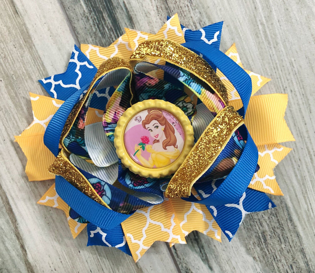 Belle Beauty & The Beast Hair Bow - Nico Bella Boutique